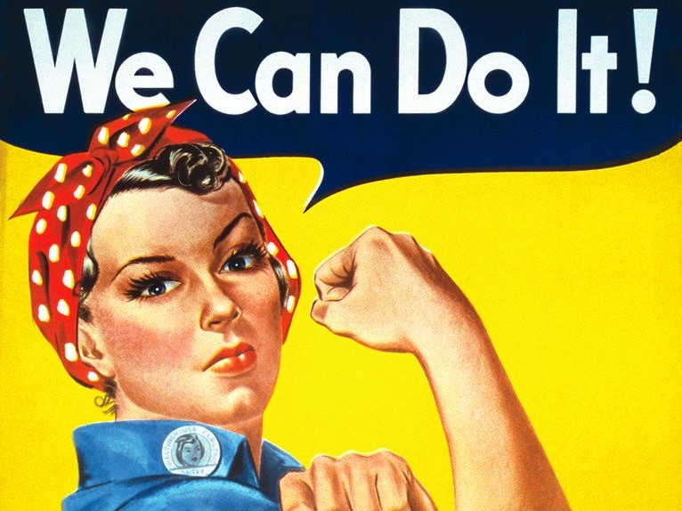 Rosie the Riveter with caption reading We Can Do It