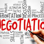 The word Negotiations surrounded by words pertaining to bargaining